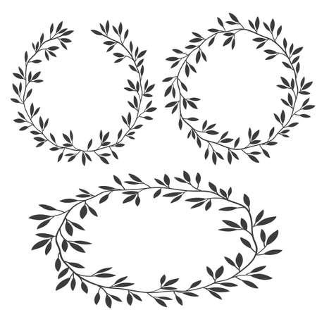 Vector set of silhouettes vintage floral frames, laurel wreaths. Decorative floral elements. Hand drawn nature style design