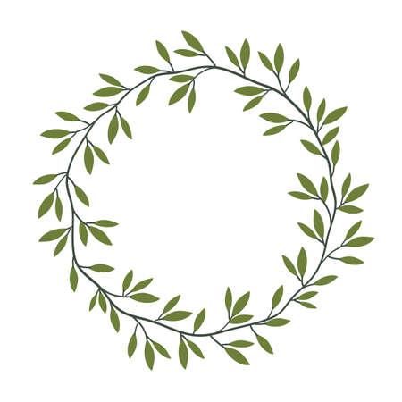 Vector vintage floral frame with green leaves, laurel wreath. Decorative floral element. Hand drawn nature style design Ilustração