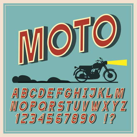 Vintage font, Retro letters and numbers. Vintage alphabet, vector typeface for labels, titles, posters Ilustração