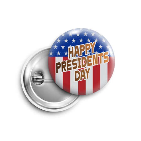 Happy Presidents day button, badge, banner isolated with with USA flag.