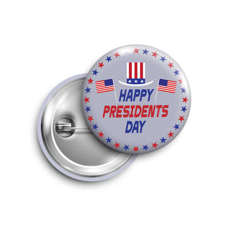 Presidents day button, badge, banner isolated with flags USA and Sam hat. Illustration