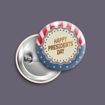 Presidents day button, badge, banner isolated, retro style. Vector design for Independence Day, United States of American President holiday, Veterans Day. Illustration