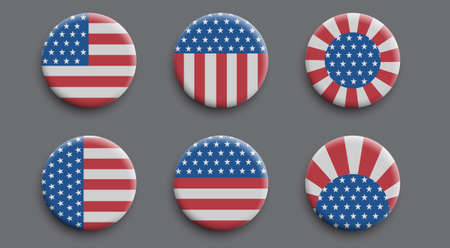 Set of 3d badges with American flag. Vector buttons, vector realistic illustration.