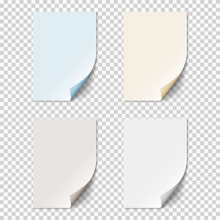 Set of empty paper sheets with curled corners. Realistic blank folded pages on transparent background. Vector template