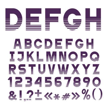 Elegante carattere a strisce, lettere dell'alfabeto, numeri e segni di punteggiatura. Set vettoriale