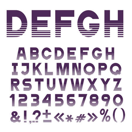 Stilvoller gestreifter Schriftart, Alphabetbuchstaben, Zahlen und Interpunktionszeichen. Vektor festgelegt