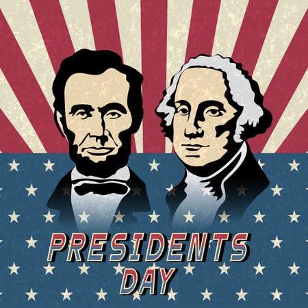 Buon giorno di presidenti, Abraham Lincoln e George Washington. Sfondo vacanza con bandiera americana. Illustrazione vettoriale Vettoriali