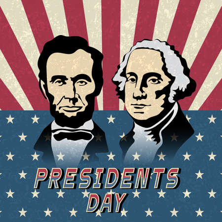 Happy Presidents Day, Abraham Lincoln and George Washington. Holiday background with American flag. Vector illustration Illustration