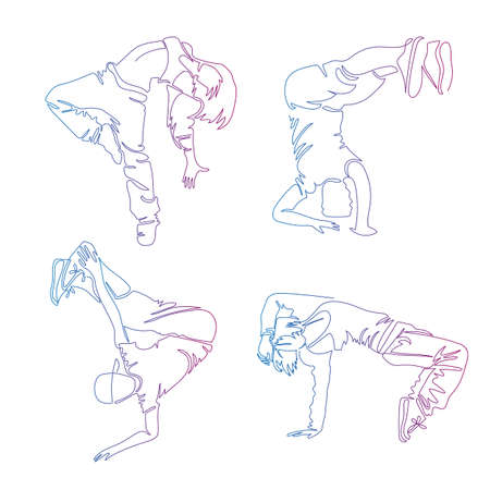 Hip-hop dancer, continuous line drawing, set of icons people. Vector design elements
