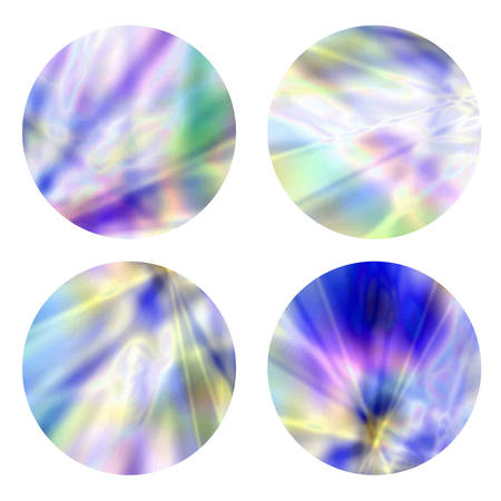 Holographic, gradient round frames set. Modern abstract backgrounds template for logos, web design.