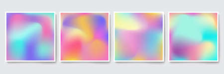 Bright Holographic colorful backgrounds set. Vector mesh template. Design for greeting card, report, cover, book, print,poster,brochure,magazine Imagens - 101050861