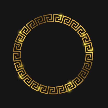 Golden round greek frame for design. Greek gold ornament on black. Vector illustration Imagens - 109281750