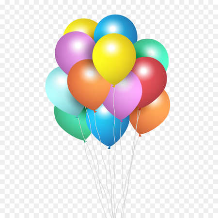 Festive Balloons, group of colour helium balloons Isolated on transparent background. Vector Illustration. - Vector