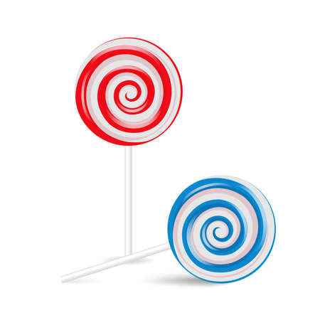 Lollipop Swirl set, colored sugar candies. Vector illustration isolated on white background - Vector