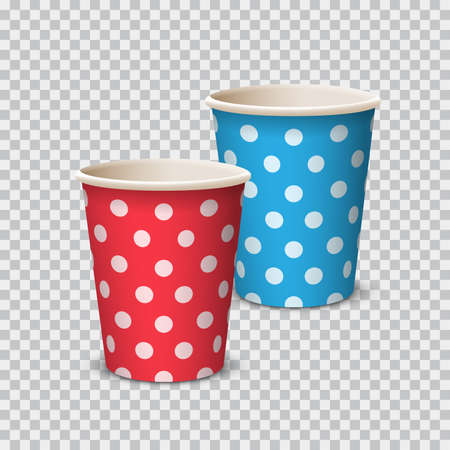 Paper Cup color with polka dot for beverages. Vector elements isolated on a transparent background. Red, blue paper cup for party. - Vector