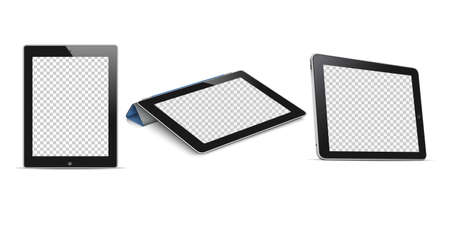 Tablet computer (tablet pc) with transparent screen. Realistic style. Vector set on white background. Vector mockup -Vector Ilustração