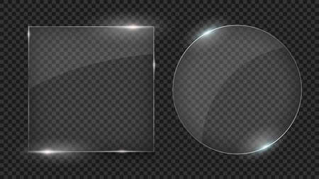 Glass plates, Set of different shapes, glass frames isolated on transparent background. Photo realistic vector illustration