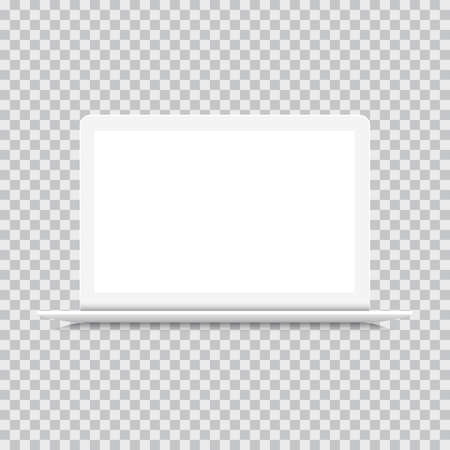 Laptop front view, white mockup isolated. Notebook. Realistic style, Vector illustration - Vector Ilustração