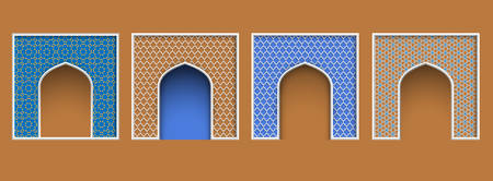 Arabic style arch frame, set of islamic ornate architectural elements for Eid al-Adha greeting card design. Vector collection