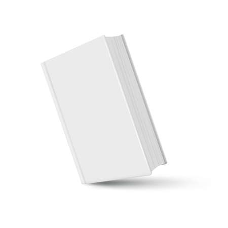Book mockup white realistic with shadow on white background. Vector illustration. - Vector Ilustração
