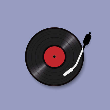 Black vinyl record disc, realistic style, concept retro design. Vector illustration- Vector