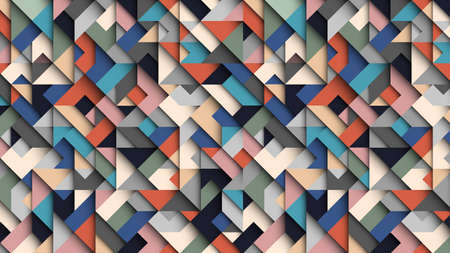 Abstract colorful geometric  background, 3D effect, trendy colors. Creative modern wallpaper. Vector Design Concept - Vector Imagens - 129186778