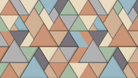Geometric abstract background with triangles , 3D effect, retro pastel colors. Creative modern paper wallpaper. Vector Design Concept - Vector Иллюстрация