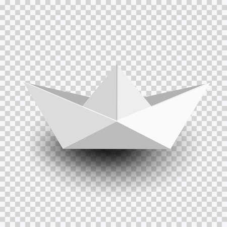 Origami white paper ship,boat isolated on transparent background. Vector  illustration Ilustração