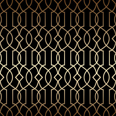 Golden art deco linear seamless pattern, black and gold colors. Luxury decorative ornament. Vintage vector background, wallpaper. Gold geometric shapes, elegant retro texture