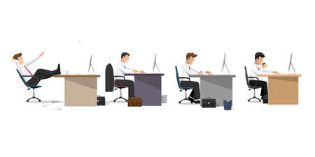 Managers in office in flat style, concept of office life. Cartoon flat style character, Vector set