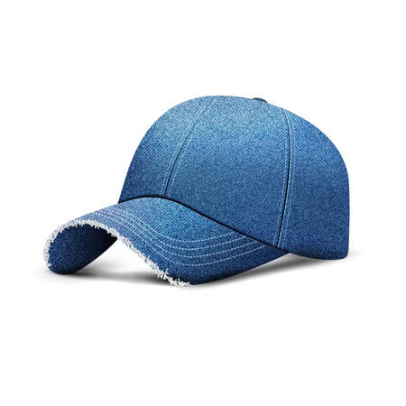Denim baseball cap with shadow, uniform cap hat, realistic 3d style. Vector illustration isolated on white background. Mock Up template for design Ilustração