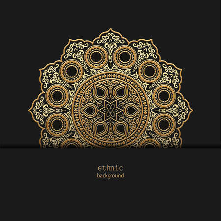 Golden floral ornamental mandala style design background, henna on black. Vector circle ornament template