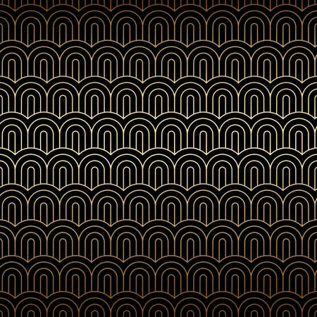 Golden seamless background with chinese waves, Art deco pattern. Gold and black colors, geometric linear design. Vector wallpaper 920-30s motif. Luxury vintage illustration Ilustração