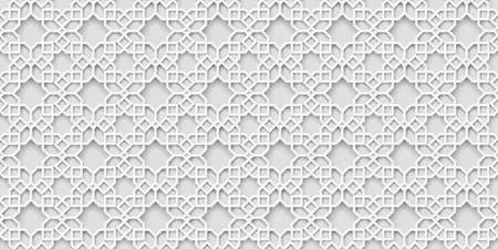 White arabic pattern, islamic background. Arabian wallpaper. Geometric ornament  3d style vector. Texture east traditional motif