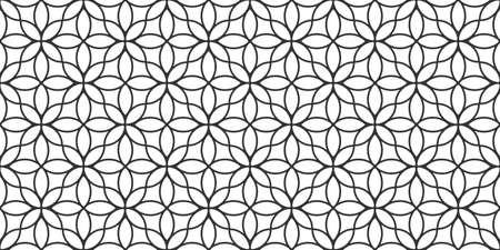 Floral linear monochrome seamless pattern in oriental style, delicate ornament, black and white texture. Vector background, arabic style wallpaper for islamic design