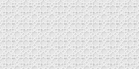 White islamic background, light arabic pattern. Arabian wallpaper. Geometric ornament  3d style vector. Texture east traditional motif