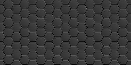 Black minimal abstract background with geometric elements - hexagons. Seamless pattern for design. - Vector wallpaper