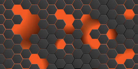 Black futuristic abstract background with hexagons and light gradient. 3d style, Seamless pattern for design. - Vector wallpaper Ilustração