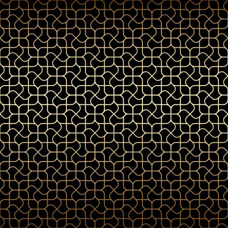 Golden art deco linear seamless pattern with stylized flowers ,black and gold colors. Luxury decorative ornament. Vintage vector background, wallpaper. Gold geometric shapes, elegant retro texture Ilustração