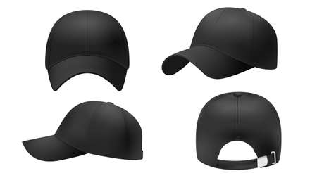 Black cap Mockup, realistic style. Hat blank template, baseball caps, vector illustration set. Collection of modern realistic fashion accessories,headgear,headwear, headdress Ilustração
