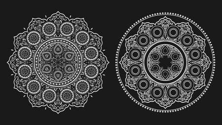 Boho white floral mandala line art , vector set. Yoga vector template, circular pattern. Round mandala isolated on black background