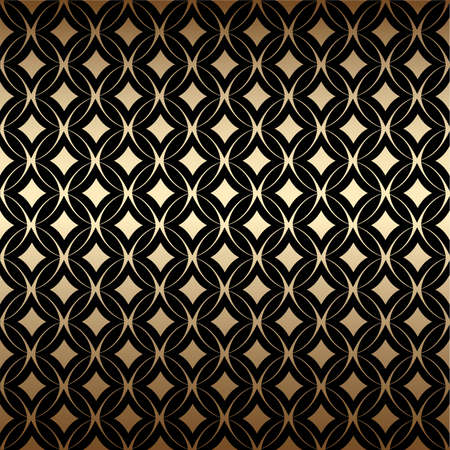 Geometric golden art deco simple seamless pattern with round shapes, black and gold colors. Luxury decorative ornament. Vintage vector background, wallpaper. Gold geometric shapes, elegant retro texture Ilustração