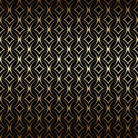Linear gold art deco simple seamless pattern with round shapes, black and gold colors. Luxury decorative ornament. Vintage vector background, wallpaper. Golden geometric shapes, elegant retro texture