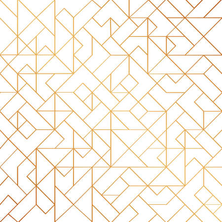 Golden art deco seamless pattern background with shiny lines. Vintage white and gold geometric stripes, vector elegant retro texture or backdrop for wedding decoration