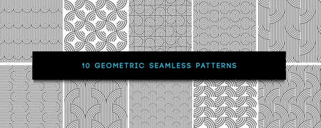 Set of vector Monochrome Geometric Seamless Patterns. Repeating geometrical ornaments, striped textures, round shapes and chinese waves. Modern universal geometrical black and white ornaments
