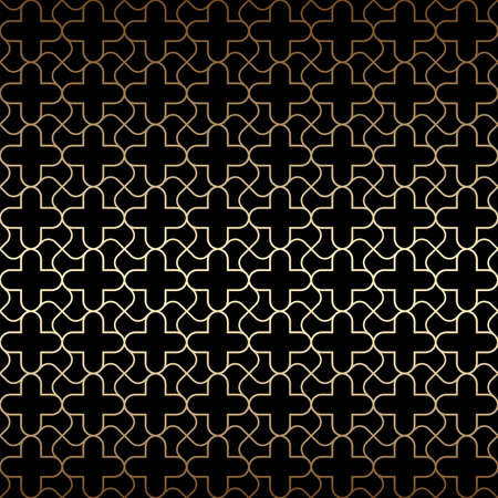 Golden art deco seamless pattern, black and gold colors. Luxury decorative ornament. Vintage vector background, wallpaper. Gold geometric shapes, elegant retro texture