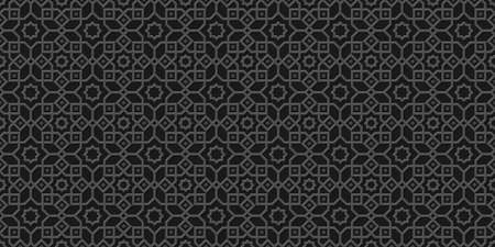 Black arabic background, islamic pattern,carved style.Monochrome  arabian wallpaper. Geometric ornament  3d style vector. Texture east traditional motif Ilustração