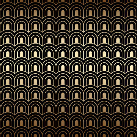 Art deco pattern, seamless golden background. Gold and black colors, geometric linear design. Vector wallpaper 920-30s motif. Luxury vintage illustration
