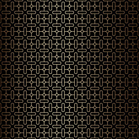 Geometric minimal golden and black linear seamless pattern background, art deco style. Simple decorative ornament. Vintage vector background, wallpaper. Gold geometric shapes, elegant retro texture Ilustração