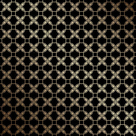 Black and gold geometric seamless pattern with stylized flowers, art deco style. Luxury decorative ornament. Vintage vector background, wallpaper. Gold geometric shapes, elegant retro texture